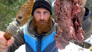 Primitive Cooking Wild MEAT on a ROCK with STONE AGED TOOLS in the WILD | Stone Knife and Stone Axe