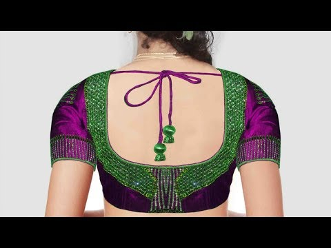 Latest Patch Worked Back neck Blouse Designs for Saree | Boutique Styles and Fashion