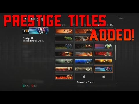 Black Ops 2 Prestige Titles Added! NEW!