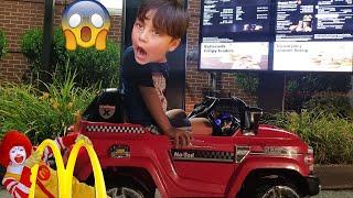 McDonalds Drive Thru Prank!! Power Wheels Ride On Car Pretend Play #JaiBistaShow