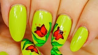 Nail Art. Flowers !!! Green Design !!!