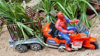 Toys Spiderman Motorbike Get Grass and Buy Houses for Dinosaurs | Toy Cars Videos For Children