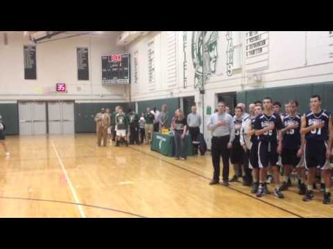 Kelsey Harris sings the National Anthem at Newfield High School
