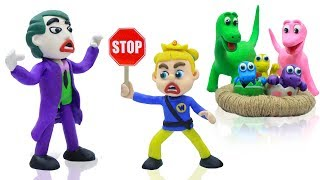 SUPERHERO BABY POLICE SAVES DINOSAUR 💖 Play Doh Cartoons For Kids