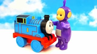 TELETUBBIES and THOMS AND FRIENDS. Funny Minion chases Thomas. But Teletubbies will save him