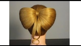 Прическа: Бант из волос. Hair Bow Tutorial Hairstyle for Long Hair