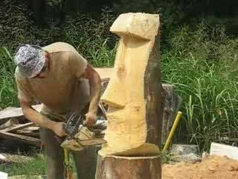 chainsaw carving Moai #2. tiki head. arborist. tree climber