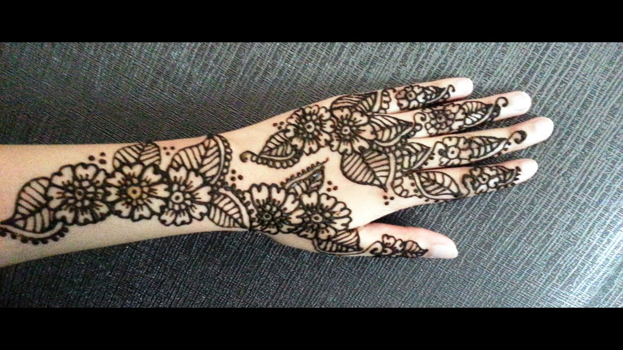 Big Flower Mehndi Design : Arabic simple henna easy flowers and leaves mehndi