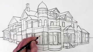 How to Draw a House in 2-Point Perspective: Narrated