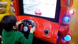 Indoor Playground Family Fun for  Kids | Playing Racing Cars Video Games, Arcade Games
