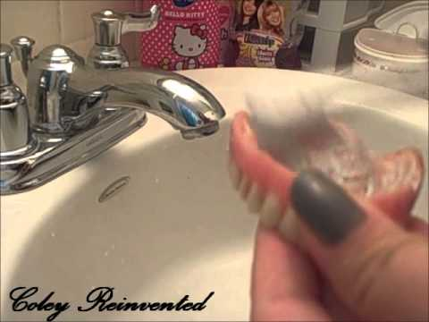 How i clean my dentures when they have cushion grip on them