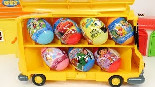 Robocar Poli School Bus Storage Case for Miniature Cars and Disney Surprise Eggs Opening Play
