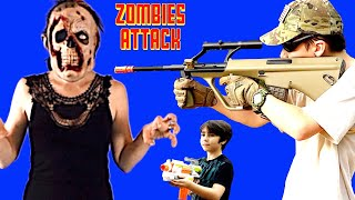 Nerf War: Zombies Attack - Zombie Battle with Nerf  and Airsoft Guns Part 27!