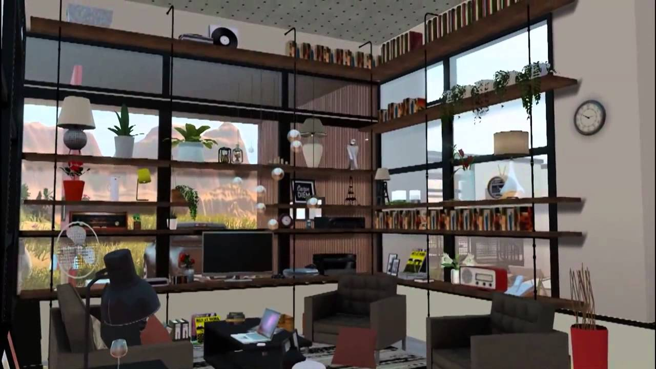 The sims 3 modern desert house on cliff youtube for Sims interior designs 1