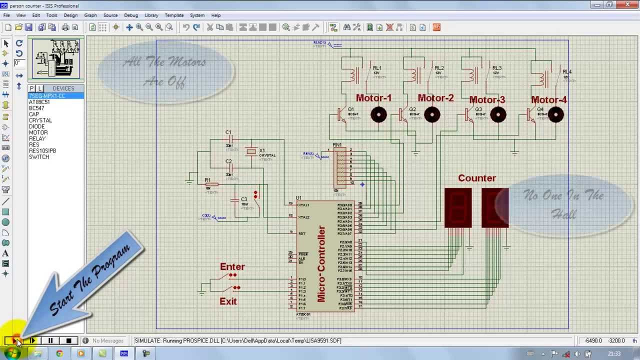 Microcontroller 8051 Person Counter Proteus Simulation