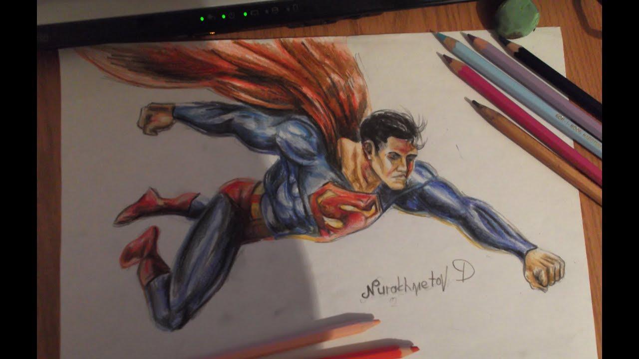 рисунки карандашом супермена: