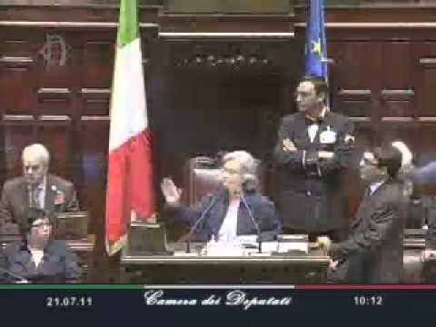 Rosi Bindi contro l'on. Francesco Paolo Sisto (Pdl) sul voto segreto