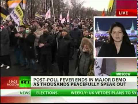 Moscow Russia Election Fraud Protests Rallies Descredit Putin - Medevedev Rule Legitimacy