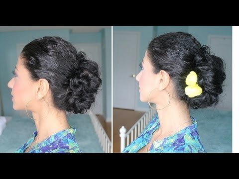 curly hair messy bun youtube