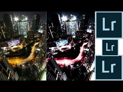 Edit foto kota malam menggunakan Adobe Lightroom di Android/HP.
