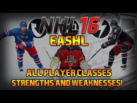 NHL 16 EASHL ALL PLAYER CLASSES - STRENGTHS & WEAKNESSES
