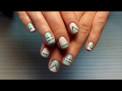 Дизайн ногтей декоративной лентой
