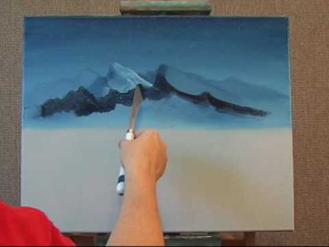 Acrylic Paintings Of Mountains At Sunset