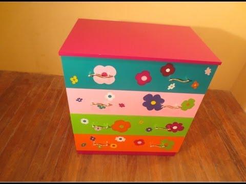 Como pintar comoda con flores para jovencita o ni a youtube - Como decorar un joyero de madera ...