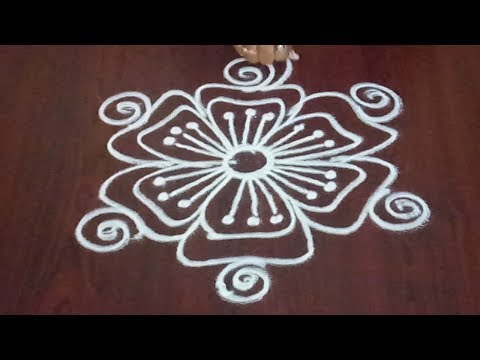 Freehand Rangoli || Latest Kolam Without Dots ||  Easy Muggulu || Fashion World & Rangoli