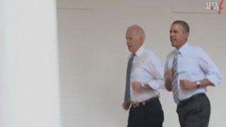 Barack Obama and Joe Biden run round the White House