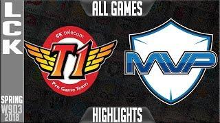 SKT vs MVP Highlights ALL GAMES | LCK Week 9 Spring 2018 W9D3 | SK Telecom T1 vs MVP Highlights
