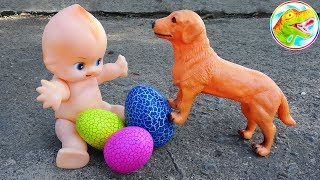 Animals, dinosaurs, crocodiles play with babies - baby toy I327L ToyTV