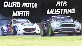 Mad Mike's Quad-Rotor Miata vs. Vaughn Gittin Jr.'s RTR Mustang! - INSANE Drift Builds