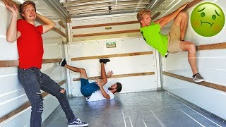 FIRST TO LEAVE MOVING TRUCK GETS TRAPPED INSIDE! *EXTREME CHALLENGE*