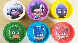 PJ Masks Play Doh Heads & Play Doh Molds | PJ Masks Drawing with Surprise Toys for Kids