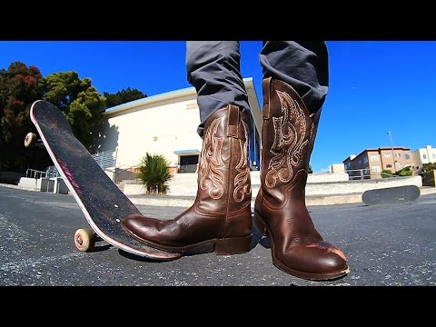 SKATEBOARDING IN COWBOY BOOTS!   STUPID SHOES EP 2