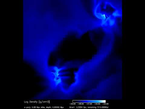 Galaxy Collision Model (Showing Gas Density) [720p]