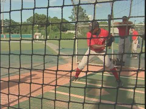 "Scene from the documentary film ""Touching the Game, The Story of the Cape Cod Baseball League"" about the change college players make from aluminum bats to wo..."