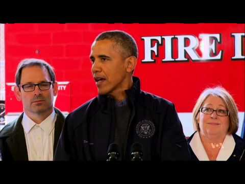 Enroute to Asia, Obama Visits Landslide Victims in Western State