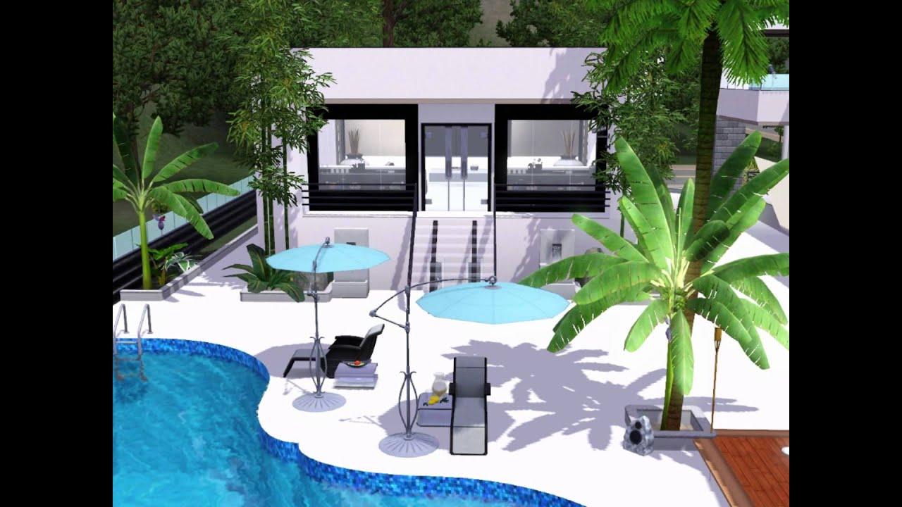 Sims 3 modern ultimate white villa youtube for Sims 3 salon moderne