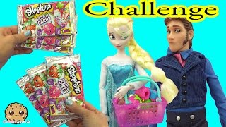 Disney Frozen Queen Elsa VS Prince Hans Unboxing 6 Shopkins Collector Card Blind Bags while Shopping