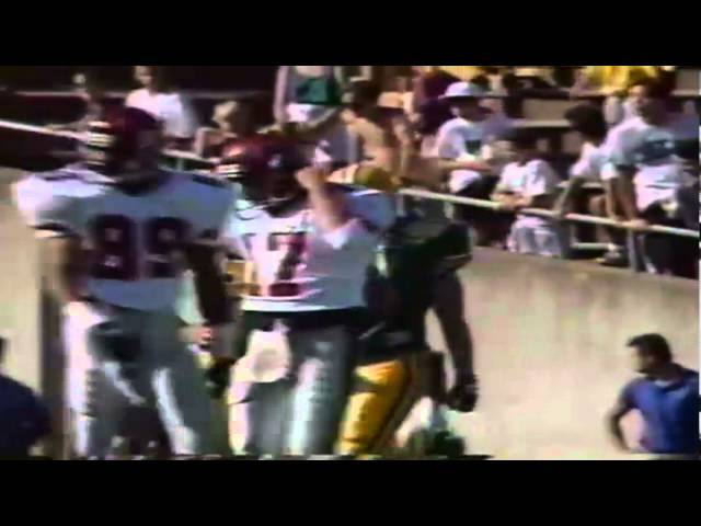 Oregon LB Tony Koker tackle for loss on NMSU QB Cody Ledbetter 10-05-91
