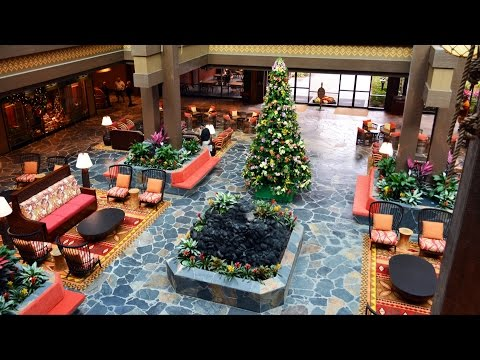 Disney's Polynesian Village Resort NEW Lobby Tour with Water Feature and Seating - Natural Sound