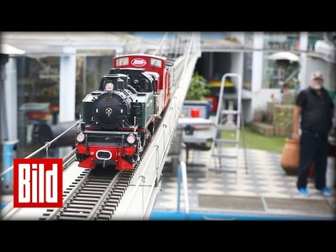 Längste Modell-Eisenbahn-Brücke - 25 Meter durch den Garten