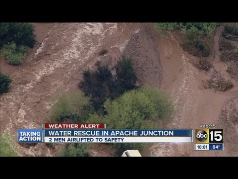 2 men rescued from floodwaters in Apache Junction