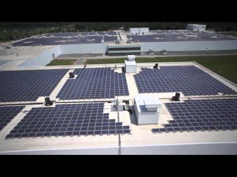 Bird's Eye View of Rooftop Solar Arrays at GM Baltimore Operations