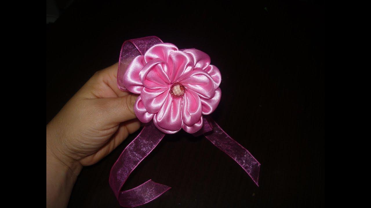 Flores kanzashi paso a paso mo os en tela satinada video - Como hacer manualidades de tela ...