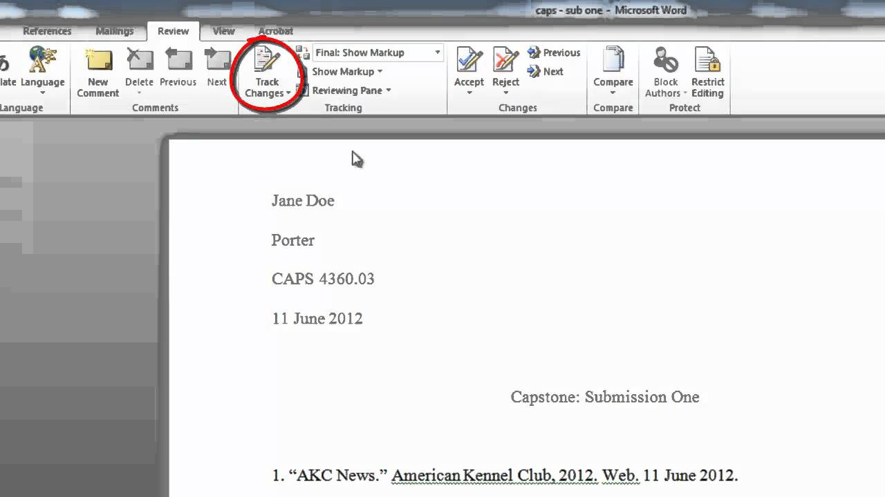 how to clear track changes in word
