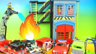 Imaginext Rescue Heroes Fire Station, Ambulance, Police Car, Jack Hammer Front Loader Fire Play-Doh