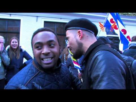 Anti-racisme activisten fysiek geintimideerd in Grou tijdens Zwarte Piet demonstratie
